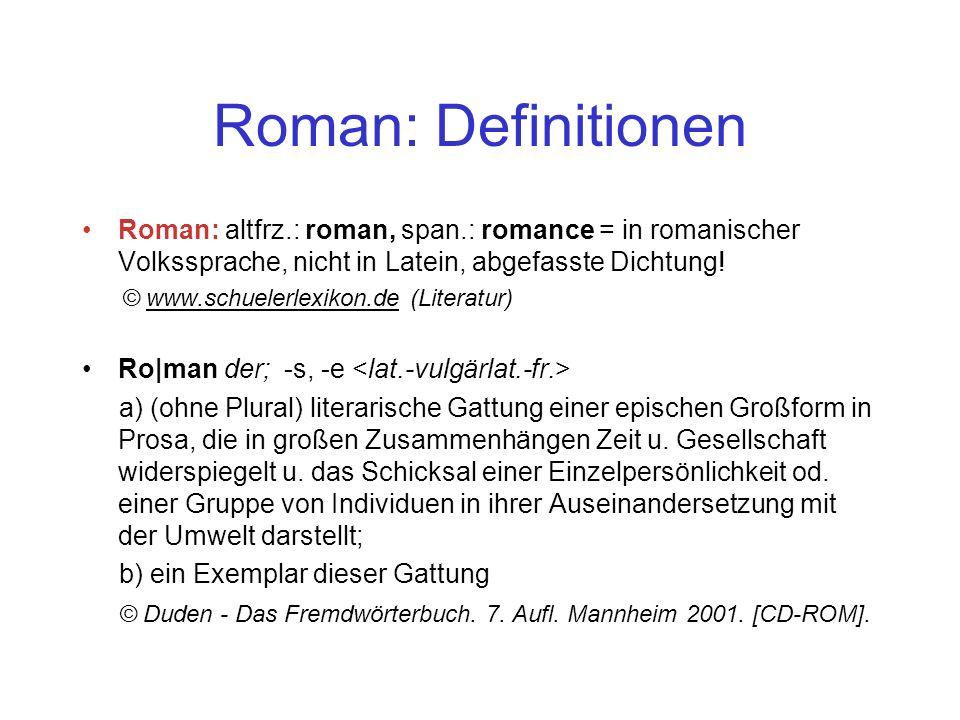 Roman: Definitionen Roman: altfrz.: roman, span.: romance = in romanischer Volkssprache, nicht in Latein, abgefasste Dichtung!