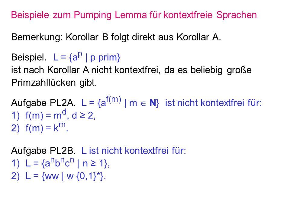 Beispiele zum Pumping Lemma für kontextfreie Sprachen