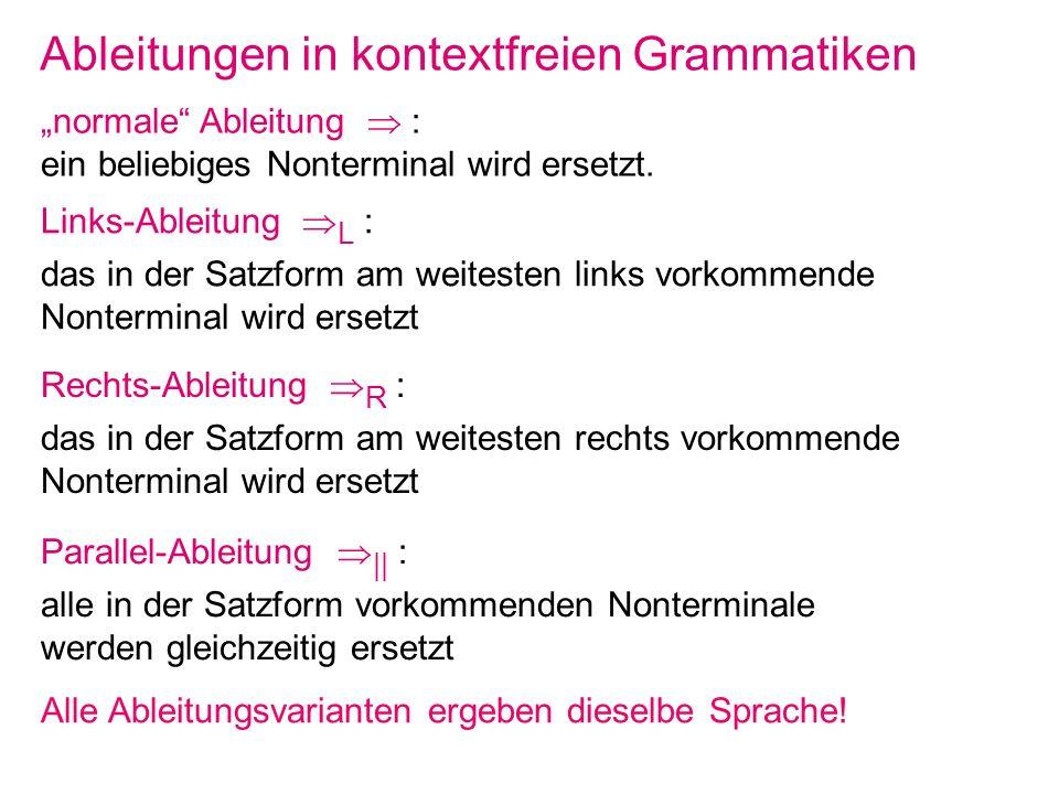 Ableitungen in kontextfreien Grammatiken
