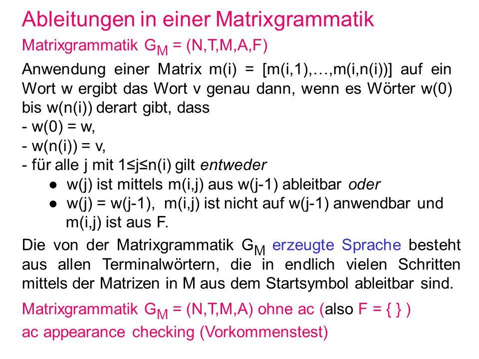 Ableitungen in einer Matrixgrammatik