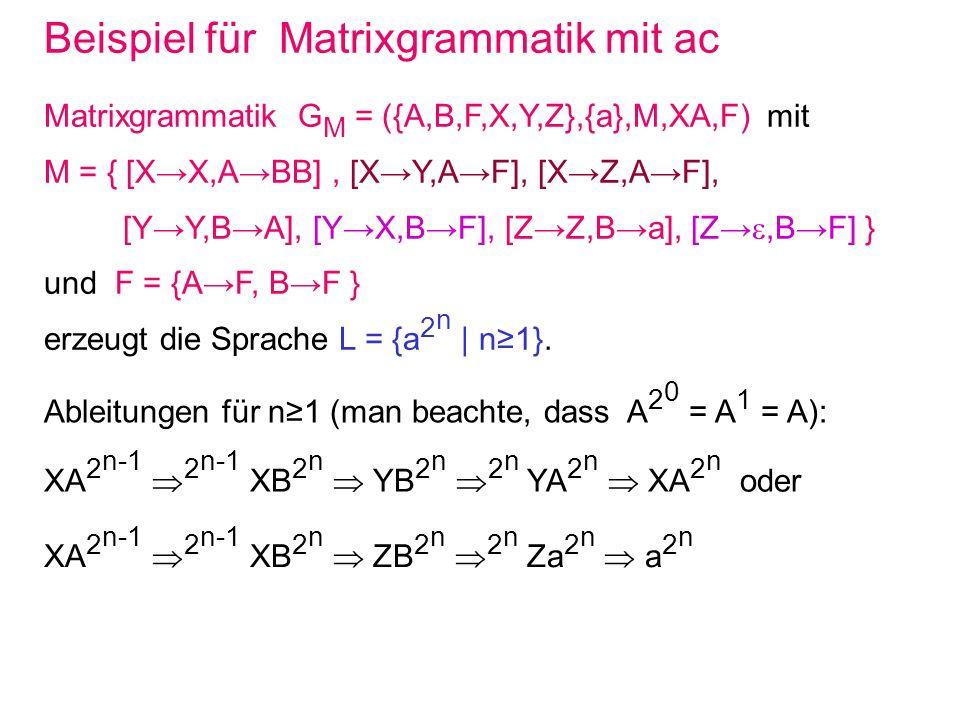 Beispiel für Matrixgrammatik mit ac