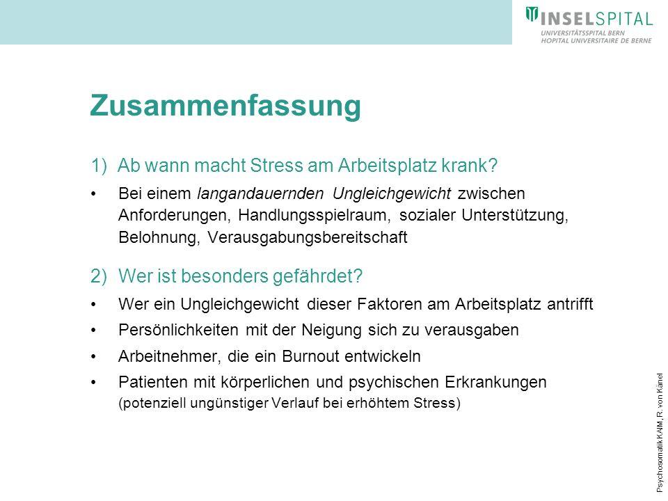 Zusammenfassung 1) Ab wann macht Stress am Arbeitsplatz krank