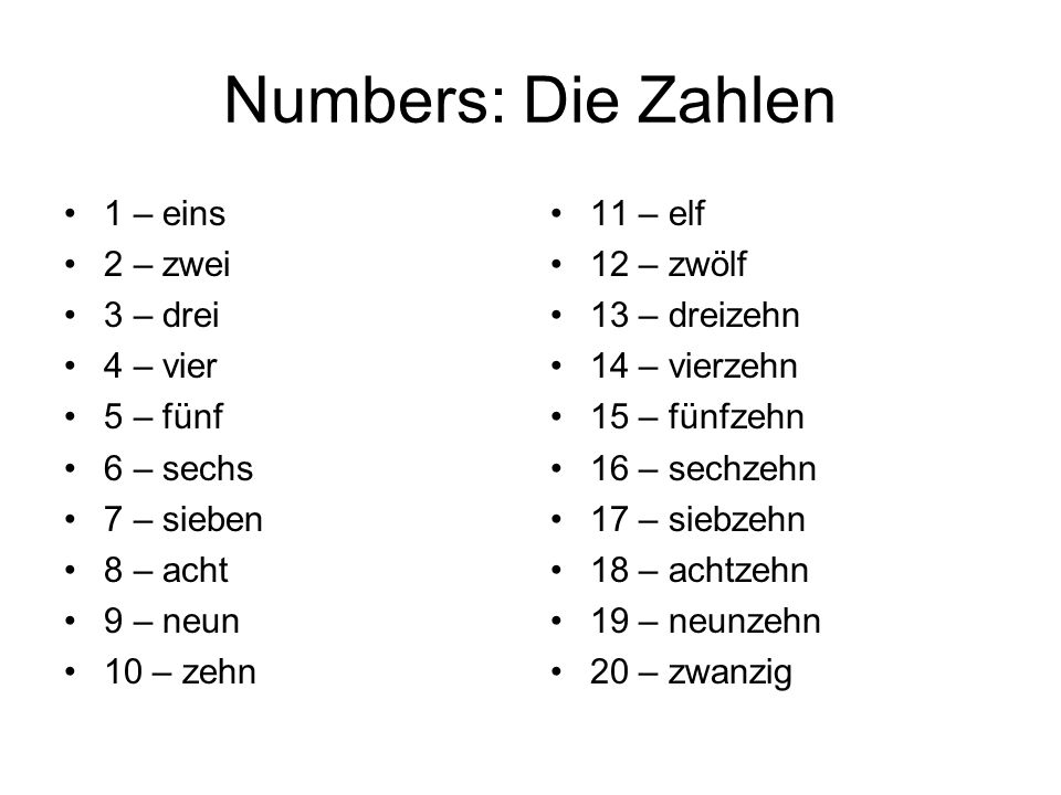 Numbers: Die Zahlen 1 – eins 2 – zwei 3 – drei 4 – vier 5 – fünf