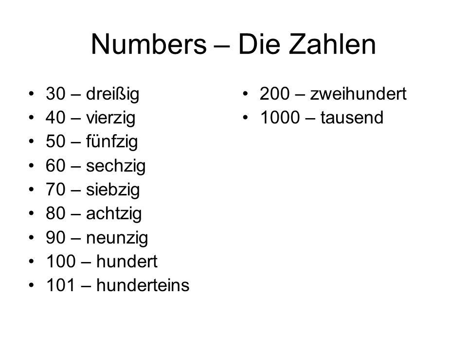 Numbers – Die Zahlen 30 – dreißig 40 – vierzig 50 – fünfzig
