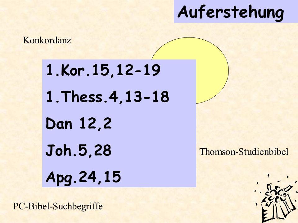 Auferstehung 1.Kor.15,12-19 1.Thess.4,13-18 Dan 12,2 Joh.5,28