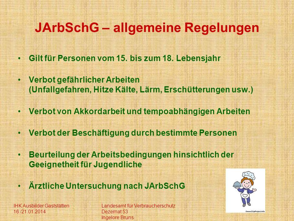 JArbSchG – allgemeine Regelungen