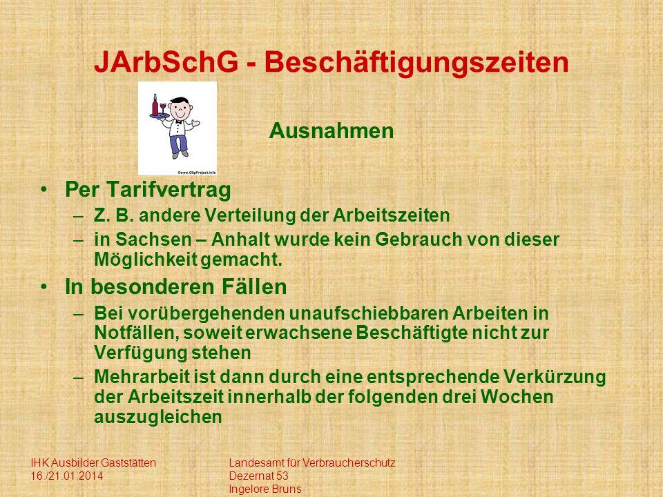 JArbSchG - Beschäftigungszeiten