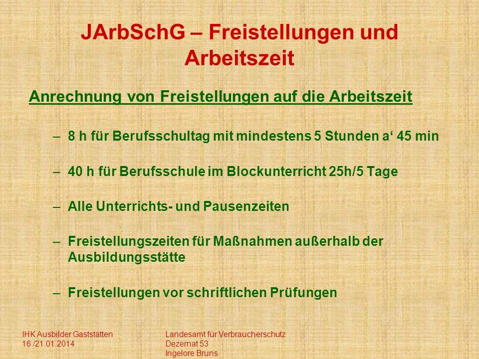 JArbSchG – Freistellungen und Arbeitszeit