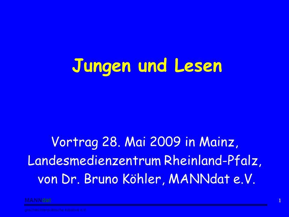 Jungen und Lesen Vortrag 28. Mai 2009 in Mainz,