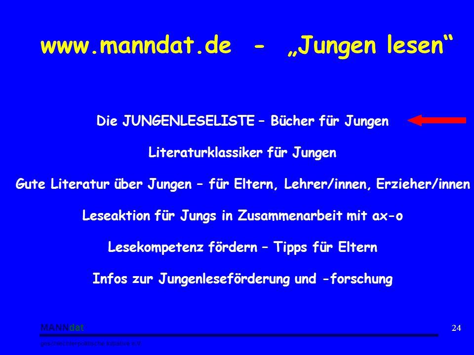 """www.manndat.de - """"Jungen lesen"""