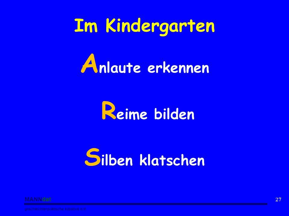 Anlaute erkennen Silben klatschen Im Kindergarten Reime bilden MANNdat