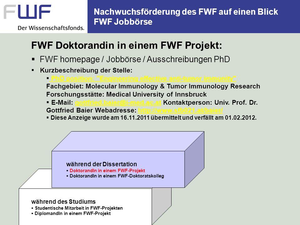 Nachwuchsförderung des FWF auf einen Blick FWF Jobbörse