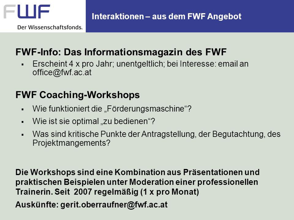 Interaktionen – aus dem FWF Angebot