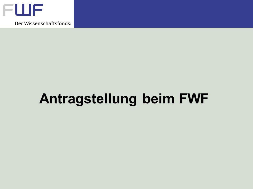 Antragstellung beim FWF