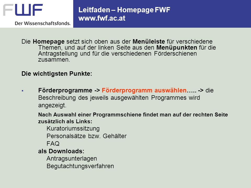 Leitfaden – Homepage FWF www.fwf.ac.at