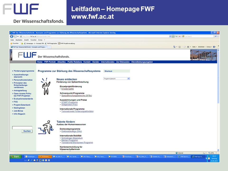 Leitfaden – Homepage FWF www.fwf.ac.at