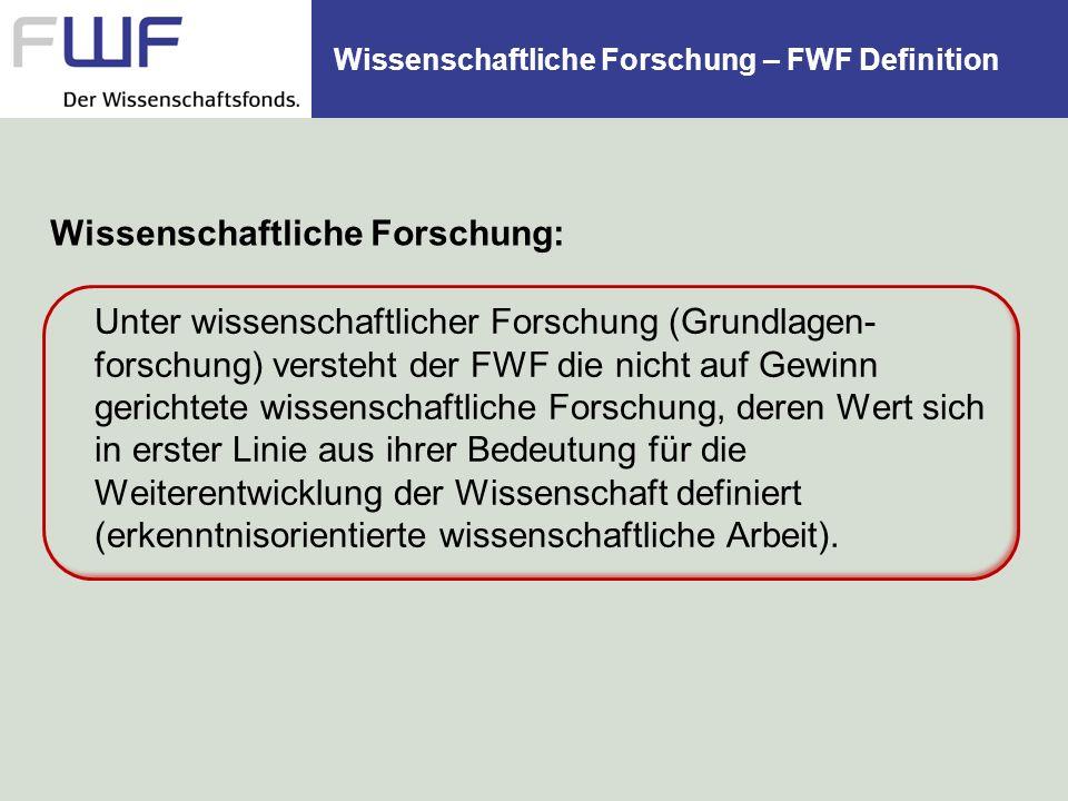 Wissenschaftliche Forschung – FWF Definition