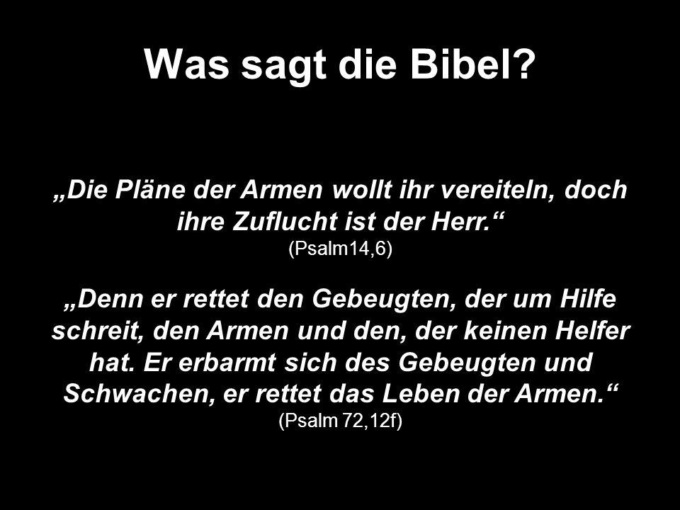 """Was sagt die Bibel """"Die Pläne der Armen wollt ihr vereiteln, doch ihre Zuflucht ist der Herr. (Psalm14,6)"""