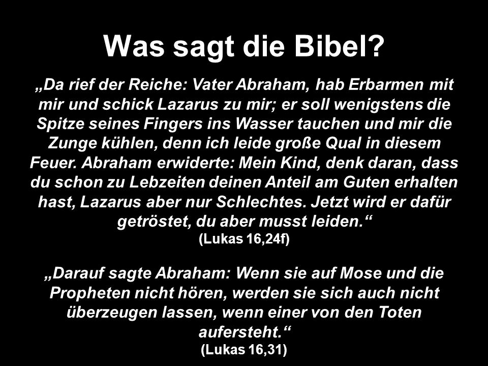 Was sagt die Bibel