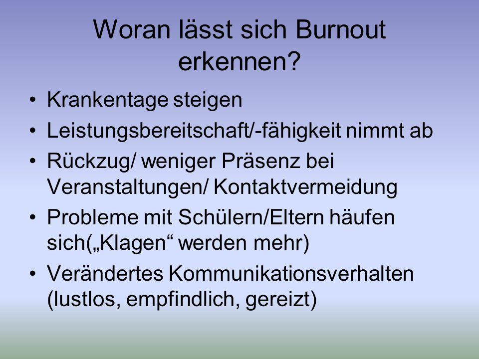Woran lässt sich Burnout erkennen