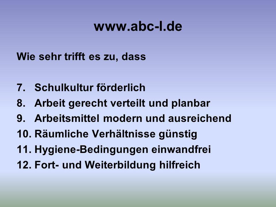 www.abc-l.de Wie sehr trifft es zu, dass 7. Schulkultur förderlich