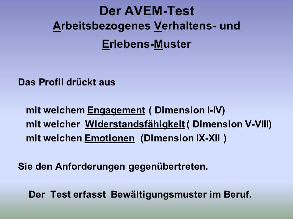 Der AVEM-Test Arbeitsbezogenes Verhaltens- und Erlebens-Muster