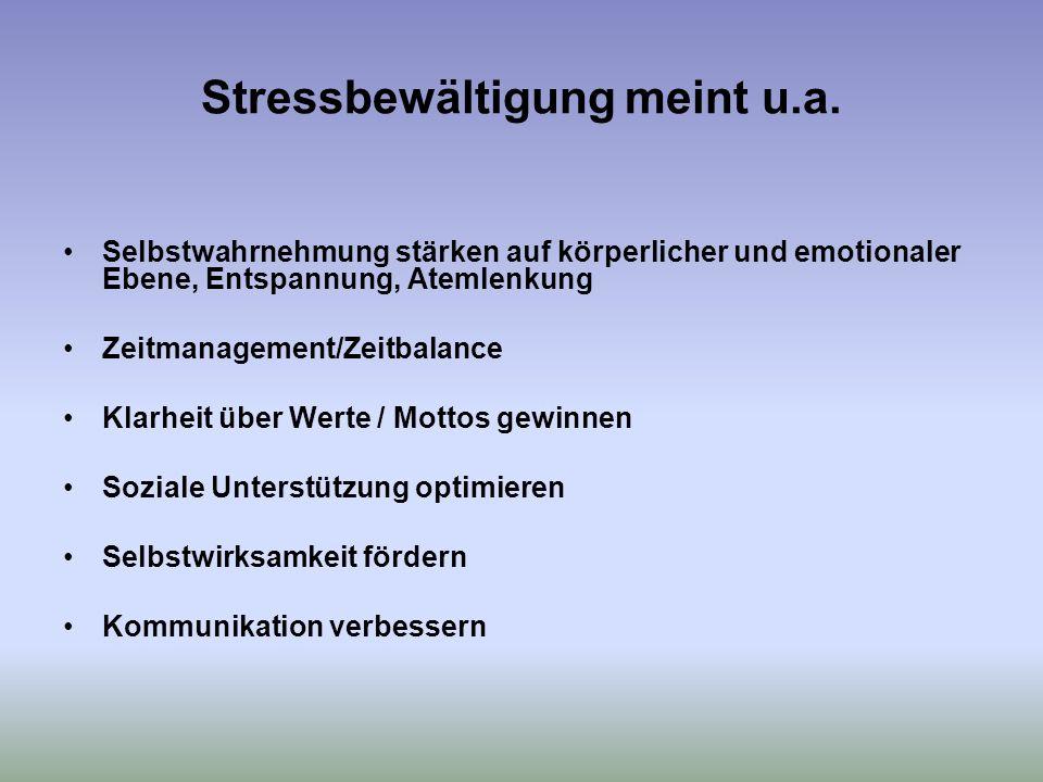 Stressbewältigung meint u.a.