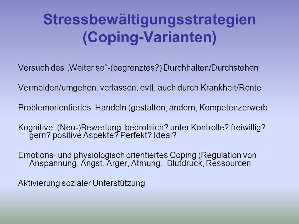 Stressbewältigungsstrategien (Coping-Varianten)