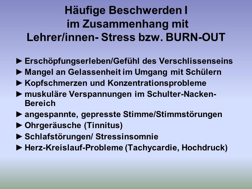 Häufige Beschwerden I im Zusammenhang mit Lehrer/innen- Stress bzw