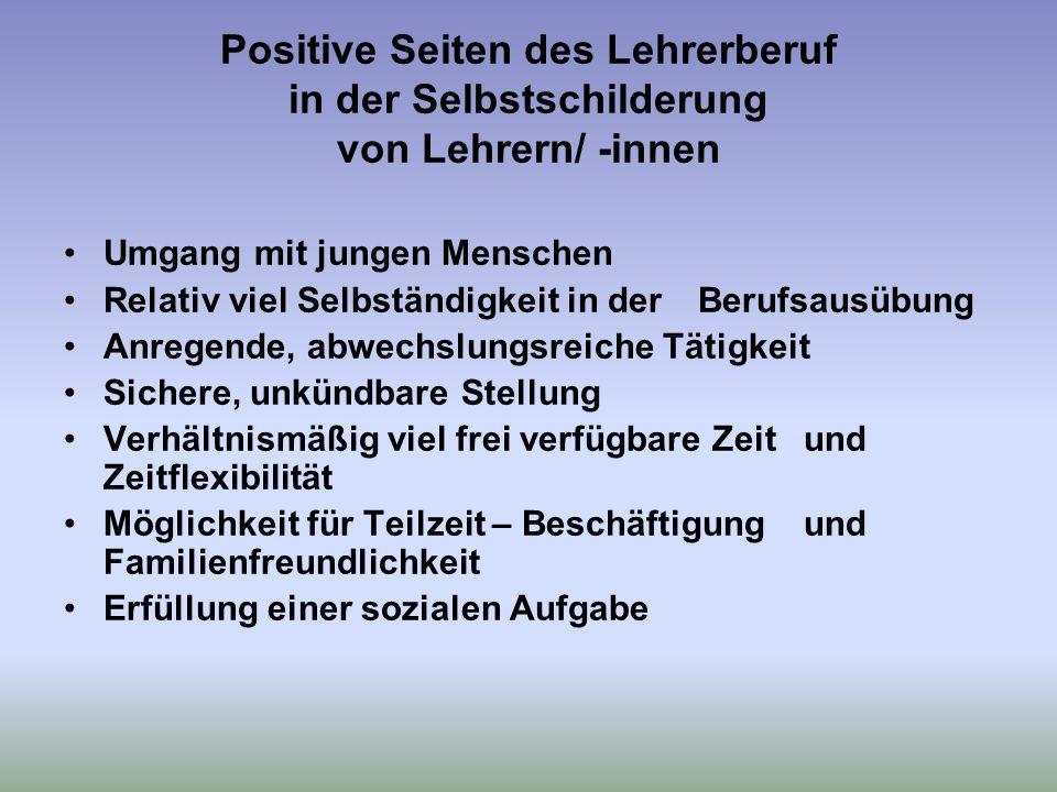 Positive Seiten des Lehrerberuf in der Selbstschilderung von Lehrern/ -innen