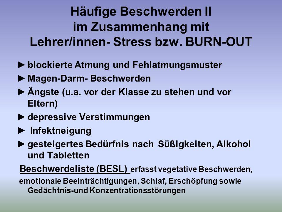 Häufige Beschwerden II im Zusammenhang mit Lehrer/innen- Stress bzw