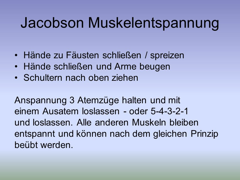 Jacobson Muskelentspannung