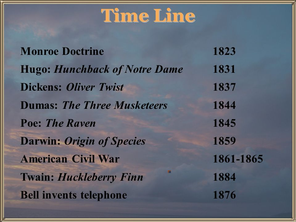 Time Line Monroe Doctrine 1823 Hugo: Hunchback of Notre Dame 1831