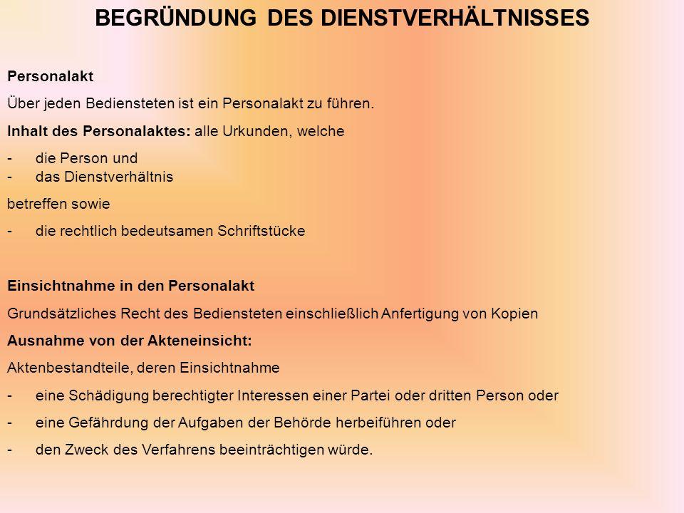 BEGRÜNDUNG DES DIENSTVERHÄLTNISSES