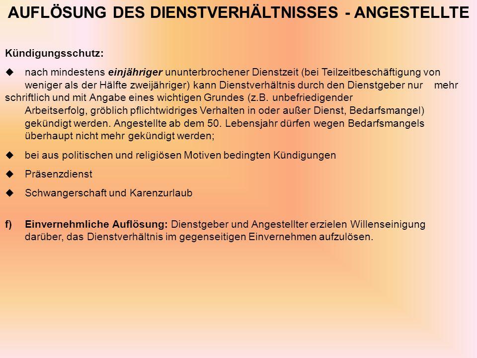 AUFLÖSUNG DES DIENSTVERHÄLTNISSES - ANGESTELLTE