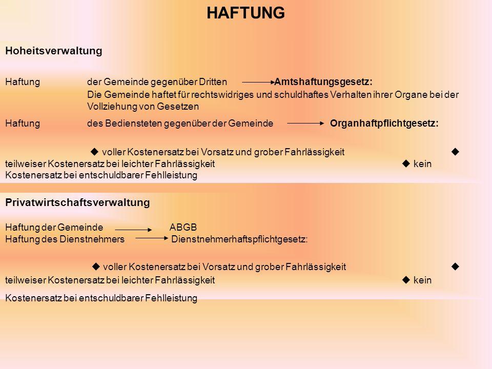 HAFTUNG Hoheitsverwaltung.