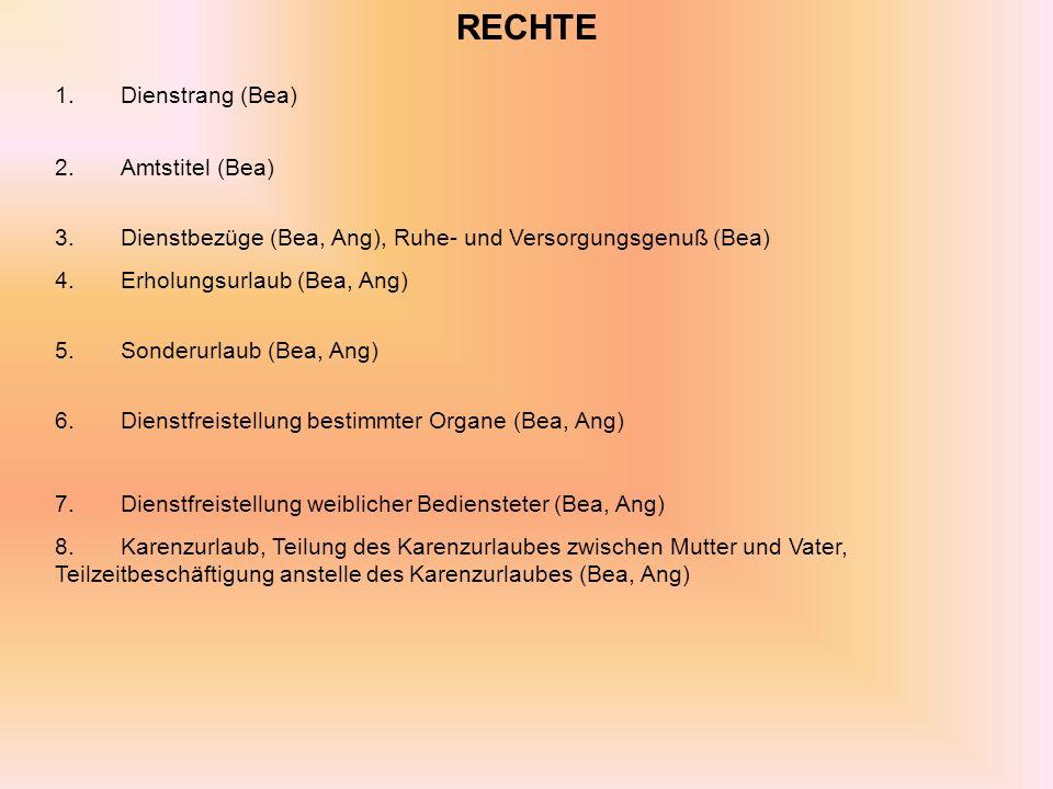 RECHTE 1. Dienstrang (Bea) 2. Amtstitel (Bea)