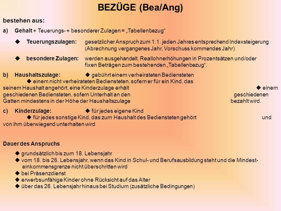BEZÜGE (Bea/Ang) bestehen aus: