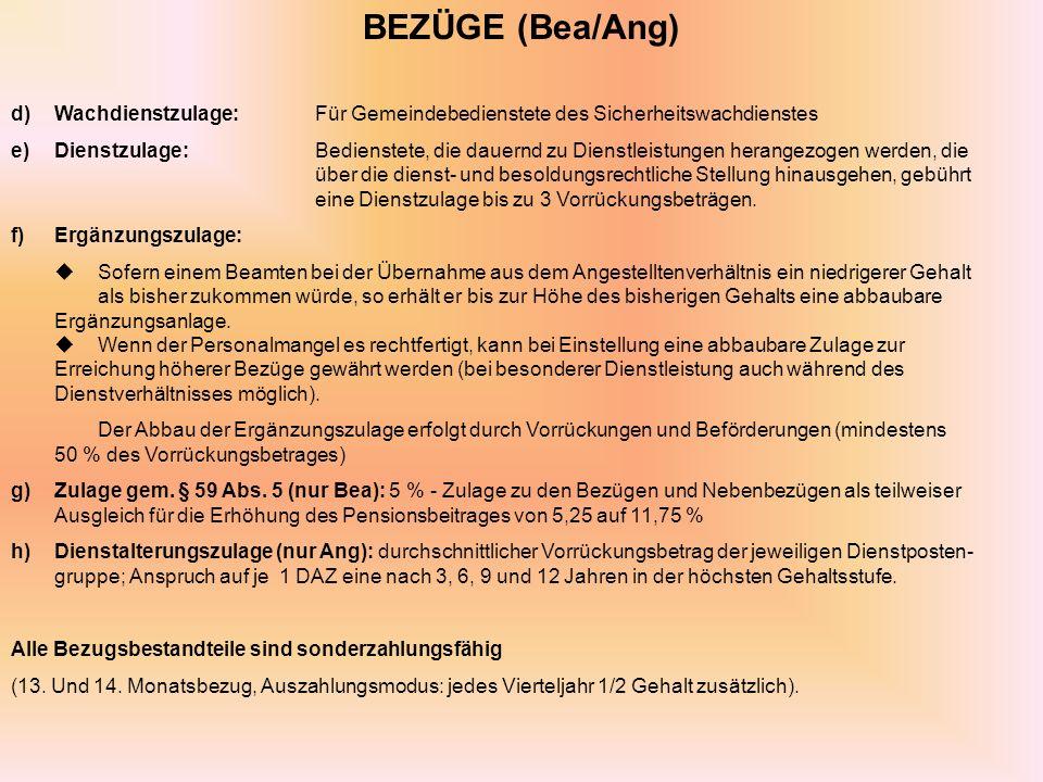 BEZÜGE (Bea/Ang) d) Wachdienstzulage: Für Gemeindebedienstete des Sicherheitswachdienstes.