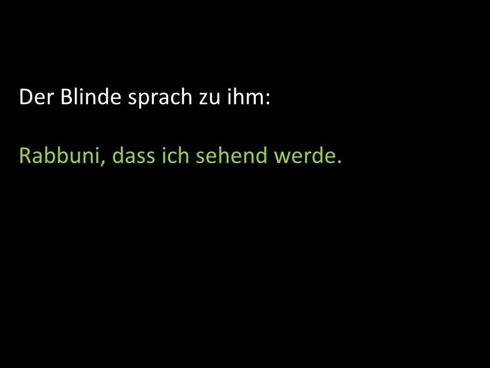Der Blinde sprach zu ihm: Rabbuni, dass ich sehend werde.