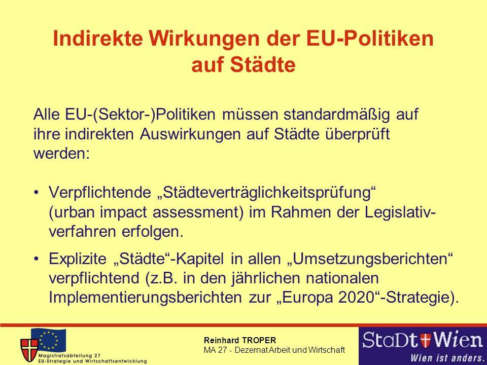 Indirekte Wirkungen der EU-Politiken auf Städte