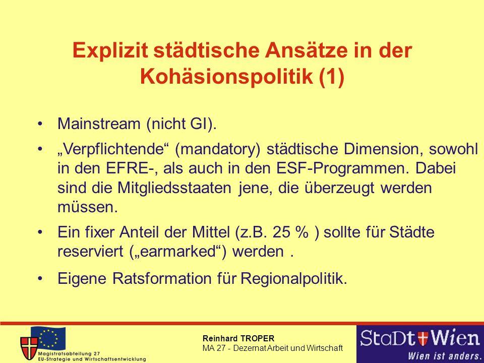 Explizit städtische Ansätze in der Kohäsionspolitik (1)