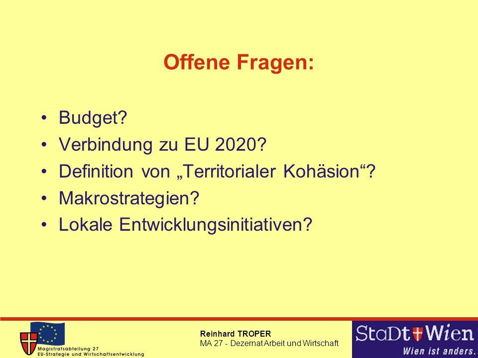 Offene Fragen: Budget Verbindung zu EU 2020