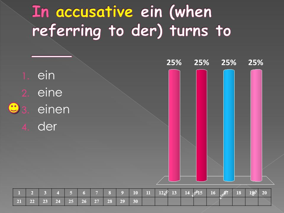 In accusative ein (when referring to der) turns to ____