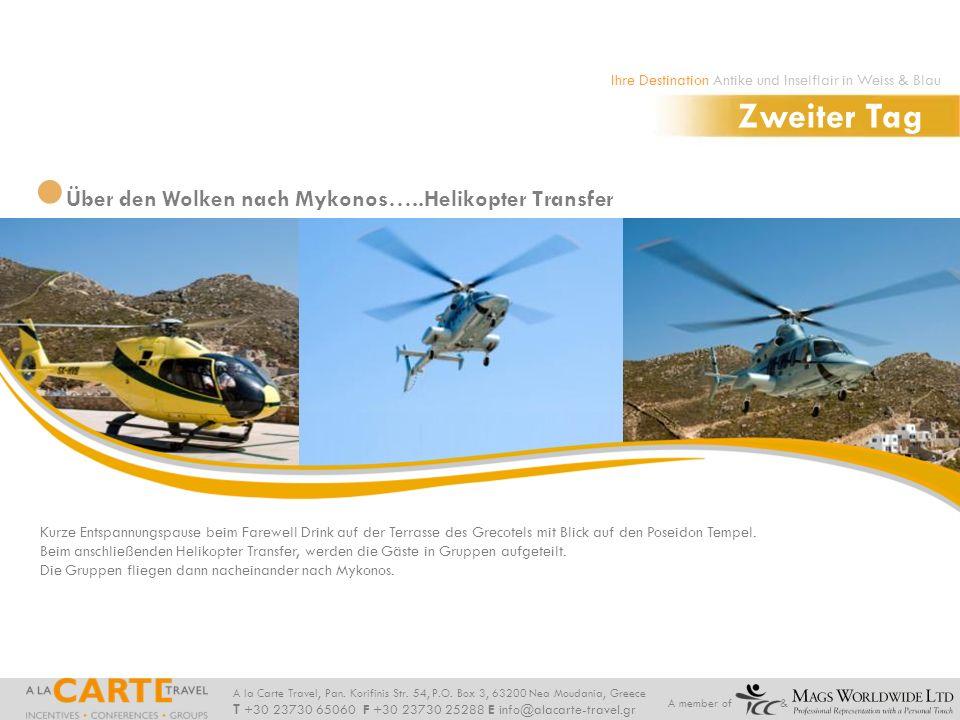 Zweiter Tag Über den Wolken nach Mykonos…..Helikopter Transfer