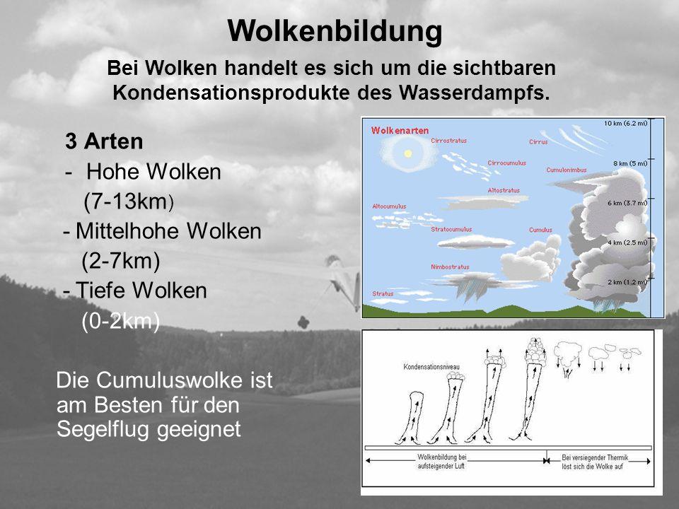 Wolkenbildung 3 Arten Hohe Wolken (7-13km) (2-7km) (0-2km)
