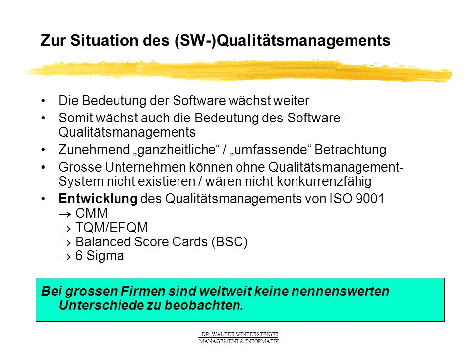 Zur Situation des (SW-)Qualitätsmanagements