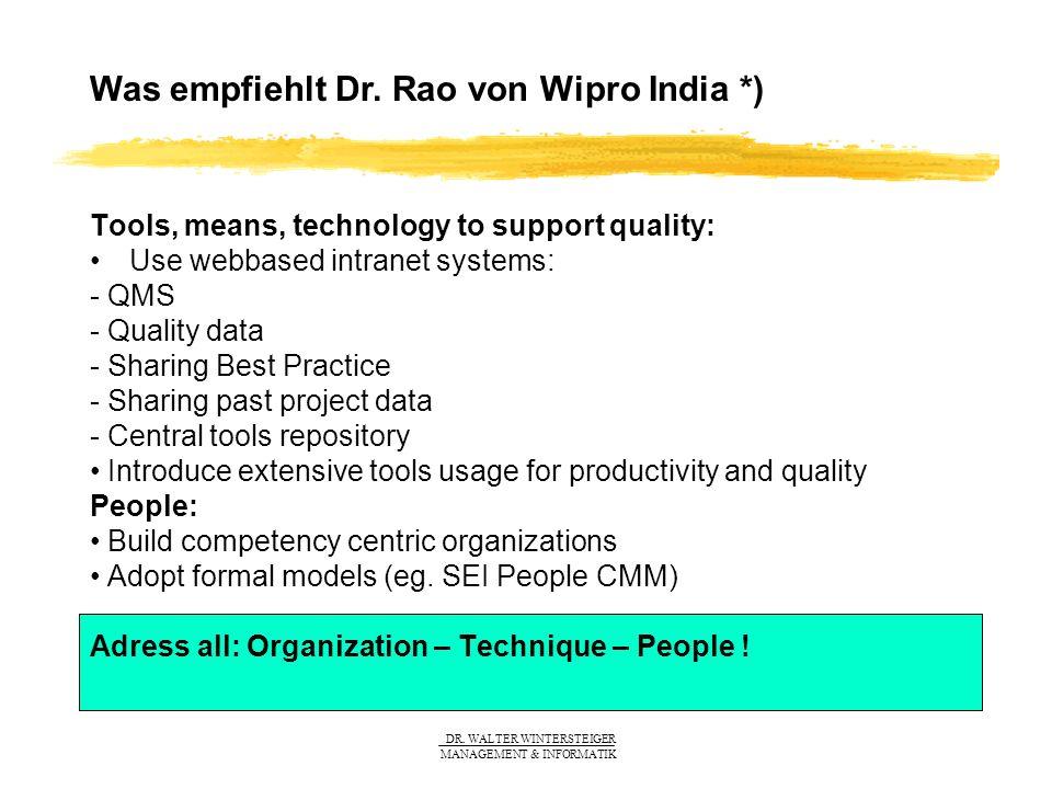 Was empfiehlt Dr. Rao von Wipro India *)