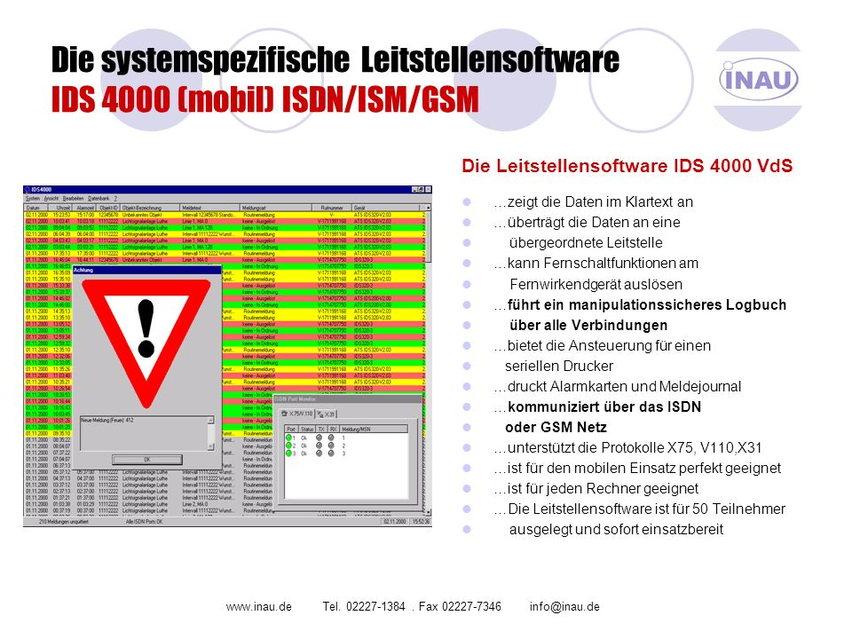 Die systemspezifische Leitstellensoftware IDS 4000 (mobil) ISDN/ISM/GSM