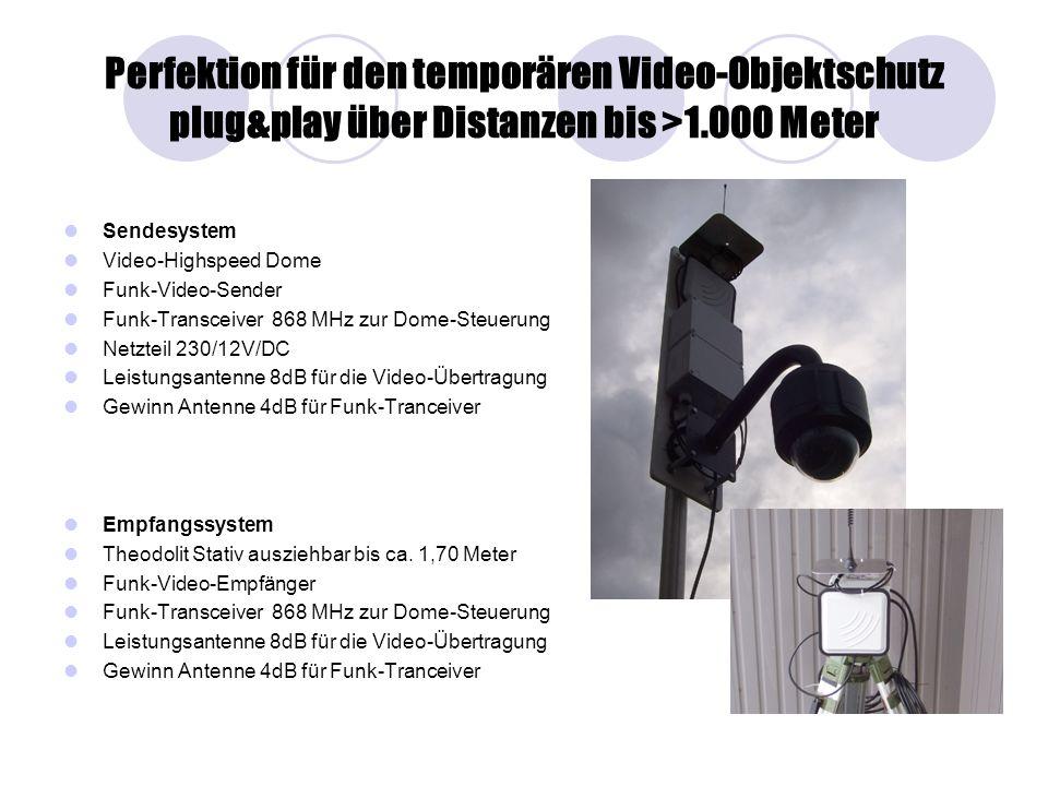 Perfektion für den temporären Video-Objektschutz plug&play über Distanzen bis >1.000 Meter
